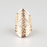 Full Tilt Etched Diamond Knuckle Ring Gold  In Sizes