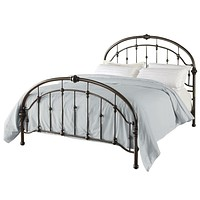 Queen Size Metal Bed in Antique Bronze Pewter Finish with Headboard & Footboard