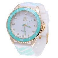 The Macbeth Collection Women's MBW023G-LG Color Fashion Rubber Band Watch