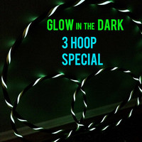 10% Off Sale- Glow in the DARK - Lot of 3 Hula Hoops - Polypro, PE, HDPE, 1 Collapsible/Push Button Body Hoop & 2 Mini Arm Hoops