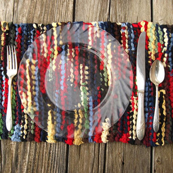 Log Cabin Placemats Knitted Upcycled T Shirts Navy Blue Red Green Brown Artisan (set of 2) Rustic Country Trivets-- US Shipping Included