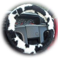 Black and White Cow print fuzzy faux fur car steering wheel cover furry and fluffy