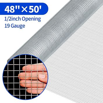 Amagabeli 48 x 50 1/2Inch Hardware Cloth Galvanized Welded Cage Wire 19 Gauge Fence Mesh Roll Garden Plant Supports Poultry Netting Square Chicken Wire Snake Fencing Gopher Racoons Rabbit Pen Gutter 48X50