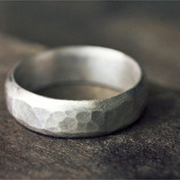 Thick Distressed Hammered Band // Custom Sterling Silver Ring