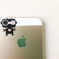 Mr. Robot Senior -- iPhone 5s vinyl decal for camera eyes -- Available in BLACK or WHITE -- iPhone Decal