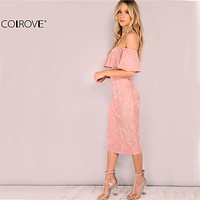 COLROVIE Woman Party dresses Elegant Evening Sexy Club Dresses Backless Midi Pink Faux Suede Off The Shoulder Ruffle Dress