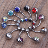10 pieces Surgical Steel Crystal Rhinestone Belly Button Navel Bar Ring Piercing Body Jewelry Nariz Ombligo Nombril  Piercings