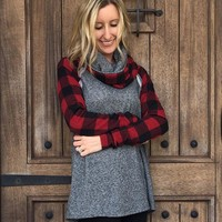 Red and Black Plaid Terry Turtleneck Top