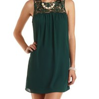 Lace & Chiffon Shift Dress by Charlotte Russe - Emerald