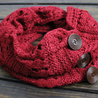 Women's Cable Knit Infinity Scarf, Knitted Infinity Scarf, Winter Scarf, Women's Infinity Scarf, Knitted Scarves, Button Scarf, Gift for Her