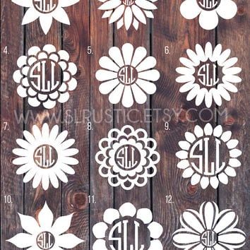 Flower Monogram decal, Monogram sticker, circle monogram, greek letters monogram,yeti cooler monogram decal, laptop decal, car decal.