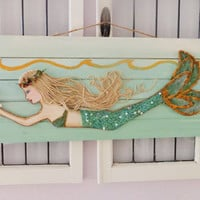Beach Decor-Mermaid Wood Sign- Aqua Coastal Art- Nautical Wall Hanging- 10X28 inches