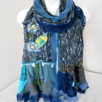 Knitted Scarves - Lurex Shawl - Boucle Shawl - Black Navy Blue Scarf - Appliqued Scarf - Patchwork Scarf - Long Knit Scarf - Blue Scarf