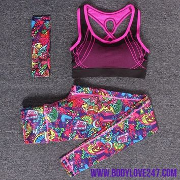 Yoga Fitness Sports Sets Gym Workout Sportswear 3pcs/Set Tracksuits