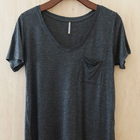 Perfectly Imperfect One-Pocket Shabby Tee, Charcoal