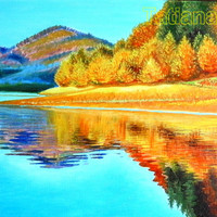 """Golden Autumn original oil painting on stretched canvas 15,75""""-19,68""""  (40 см by 50 см) sunly and bright"""