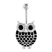 Cute Sexy Owl Bird Black Feathered Body Belly Navel Button Rings Sale Cheap Dangle 316l Surgical Steel