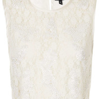 Daisy Sequin Lace Crop Top - Tops - Clothing - Topshop USA