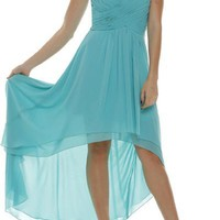 Inexpensive strapless high and low beach bridesmaid dress jul#575