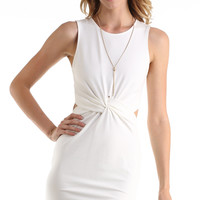 WHITE KNOTTED BODY CON TANK DRESS