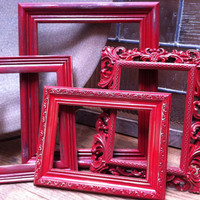 Gallery of Cranberry Painted Distressed Vintage Frames Set Unique Home Decor Hollywood Regency Apartment Decor