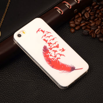 3D Feather Birds Painting Rubber TPU Soft Mobile Phone Protective Case Cover For Apple iPhone 5/5S