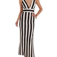 Black Combo Deep V Striped Maxi Dress by Charlotte Russe