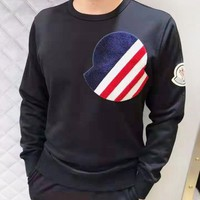 Moncler New fashion embroidery letter pattern couple long sleeve top sweater Black