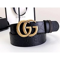 Bunchsun GUCCI classic double G embossed men's and women's wild belt