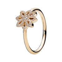 Women's PANDORA 'Lace Botanique' Cubic Zirconia Ring - Gold/ Clear