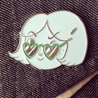 Winking Girl Cloisonné Pin - Hello Holiday