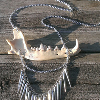 Jaw Bone Necklace - Steam punk necklace  Coyote Jaw Bone - Real animal Bone Jewelry - Wiccan Pagan Jewelry - Shaman Gypsy - Bad Ass Jewelry