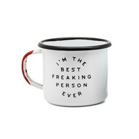TIN ENAMEL BEST PERSON EVER CAMPING MUG