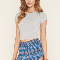Floral Stripe Dolphin Shorts