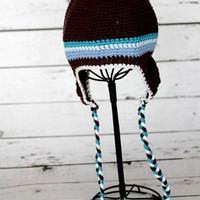 CCN15 Brown Striped Knit Baby Hat Last Call
