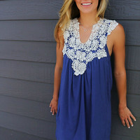 Barcelona Crochet Neck Sleeveless Navy Sundress