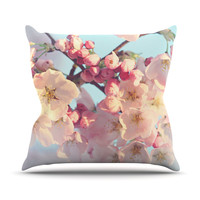 """Sylvia Cook """"Waiting for Spring"""" Pink Blue Throw Pillow, 16"""" x 16"""" - Outlet Item"""