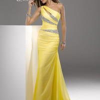 Yellow long prom dress/One-shoulder sleeveless floor-length bridesmaid dress Evening/wedding Party/Homecoming/cocktail /Formal dress