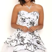 Plus Size Short Tulip Homecoming Dress with Foil Floral Print