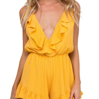 Yellow Wrap Plunge Ruffle Trim Romper Playsuit