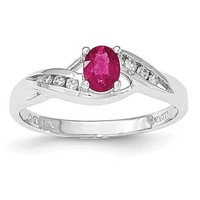14k White Gold Composite Ruby & Diamond Ring Y12964R/AA