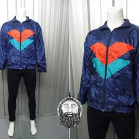 Vintage 80's Blue Windbreaker Jacket Tricolour Jacket Hipster Jacket 90s Windbreaker N