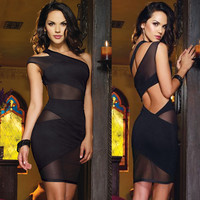 Women's Black One Shoulder Cut Out Mesh Mini Cocktail Dress
