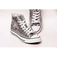 Silver Starlight Sequin Canvas High Top Sneakers