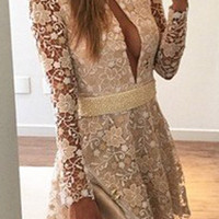 Long Sleeve V-Neck White Lace Dress