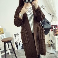 Women Autumn Winter  Long Sleeve Loose Cardigan Fashion knitting Cardigan Sweater Women Knitted Female Cardigan Pull Casaco