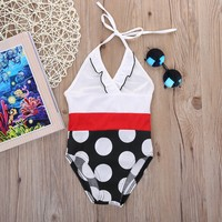 One-piece Baby Girls Polka Dots Swimsuit Toddler Swimwear  Kids Girls Bikini Bathing Suit One-Piece Swimsuit Costume Swimmer