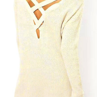 White Chunky Jumper with Strap Cross Back