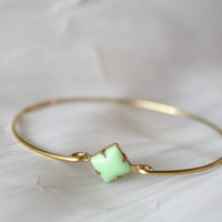 Mint Green Charm Bangle in Brass