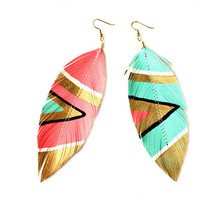 Neon Aztec - 4.5 inch - Faux Leather Feather Earrings - Electric Pink and Blue - FREE SHIP